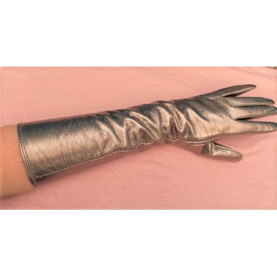 glove long dore silver imitation leather year 80