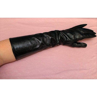 long glove, imitation patent leather, year 80