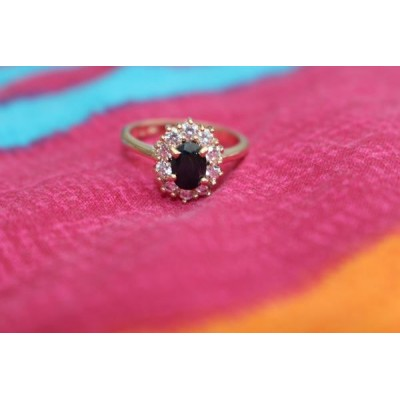 Bague plaque or strass